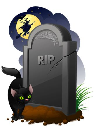Gravestone with black cat and witch Stock Photo