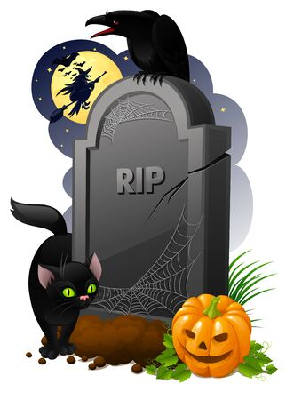 Gravestone with pumpkin, black cat, crow and witch Stock Photo