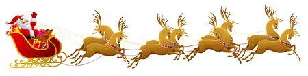?    ?     ?    ? �sledge: Santa Claus y su trineo Foto de archivo