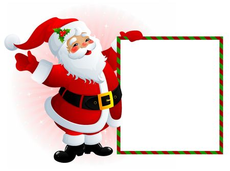 Santa Claus with message board Stock Photo - 3730302