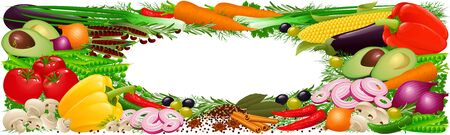 Vegetablaes, herbs and spices banner Stock Photo - 3904733