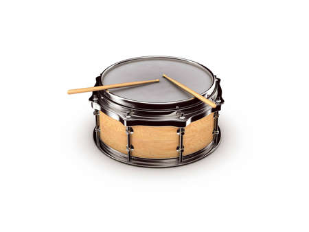 drum with drumstick on white background