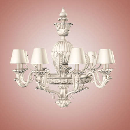 white color chandelier on gradient background