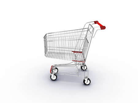 supermarket shopping cart with shadow on white  photo