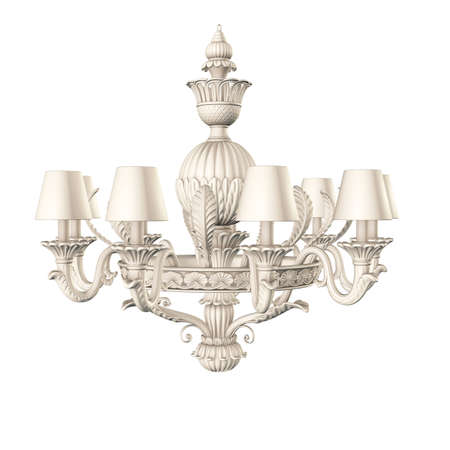 victorian white chandelier isolated on white