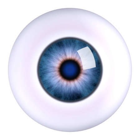 dilated pupils: 3d model eyeball blue, isolated Stock Photo