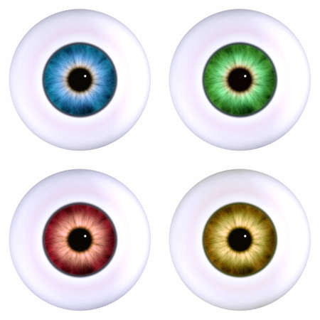 four color eyeball isoalted on white