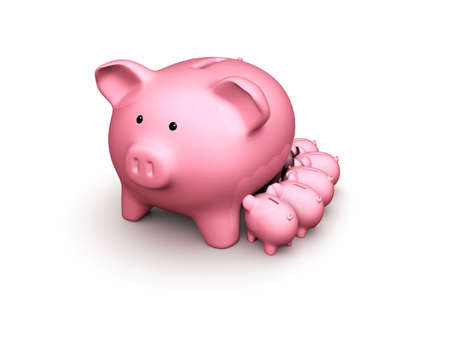 pinky piggy bank with small piggy