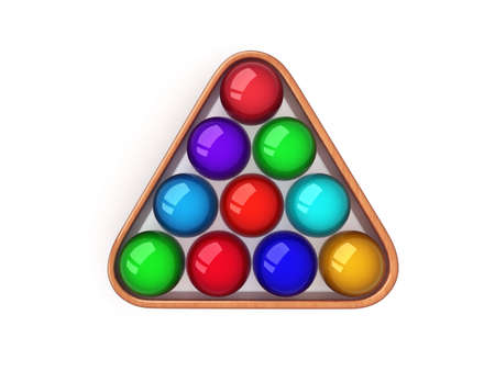 color billiard balls with wood frame