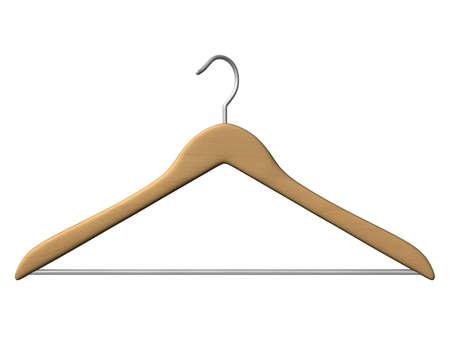 wood coat hanger isolated on white background