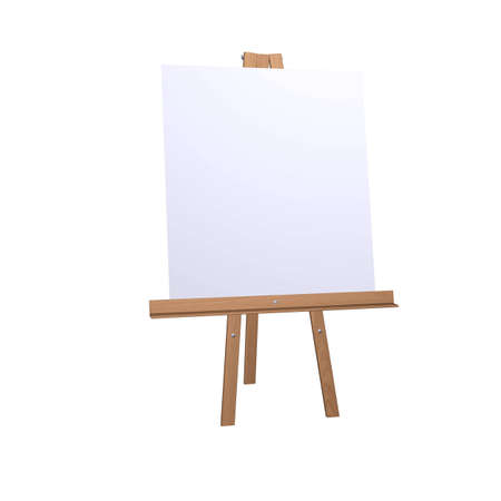 wood easel with white canvas isolated