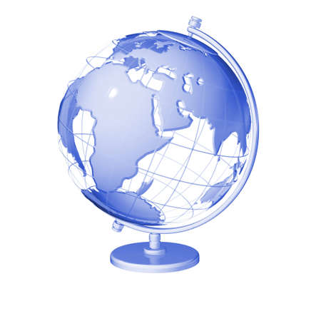 wire 3d model globe isolated Stock Photo