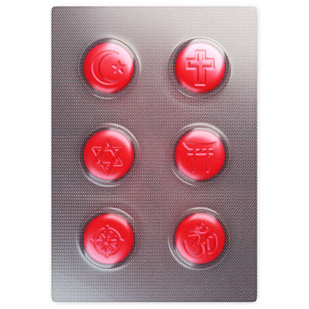 six red pills with religions symbol Stock Photo - 3103435