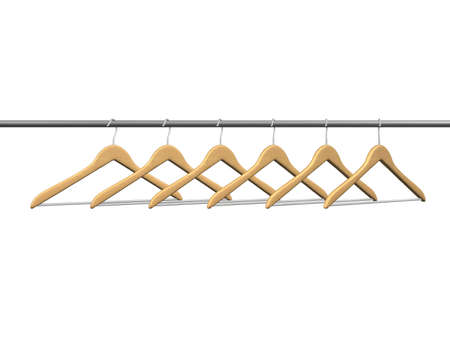 clothing rack: six wood coat hangers on tube isolated