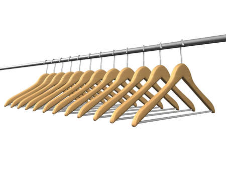 many wood coat hanger on tube