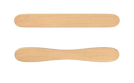 wood stick: two wood icecream stick isolated Stock Photo