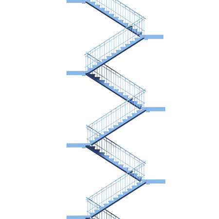 flight of stairs blue color on white