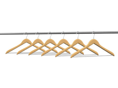 six wood coat hangers on tube in perspective view isolated photo