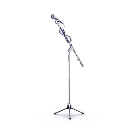 metal chrome microphone stand on white