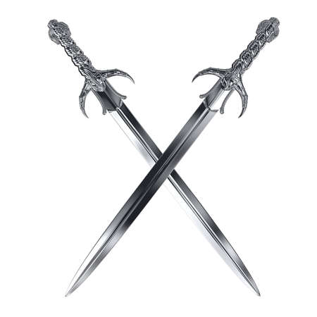 sword fight: two metal swords cross on white
