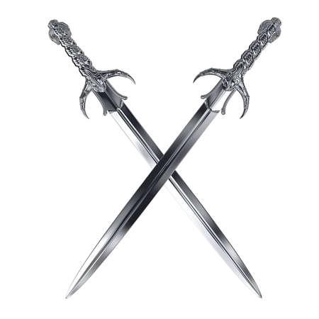 zwei Metall-Schwerter Kreuz auf weißem