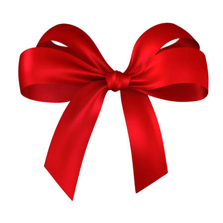 red ribbon gift isolated on white Stock Photo