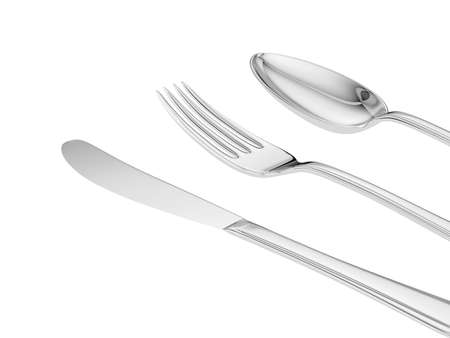 silver knife, fork, spoon isolated close up view Stock Photo