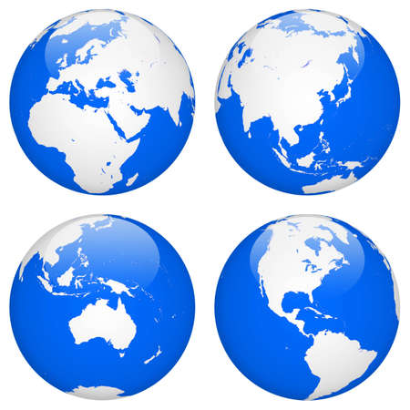 earth blue map four different view  Stock Photo