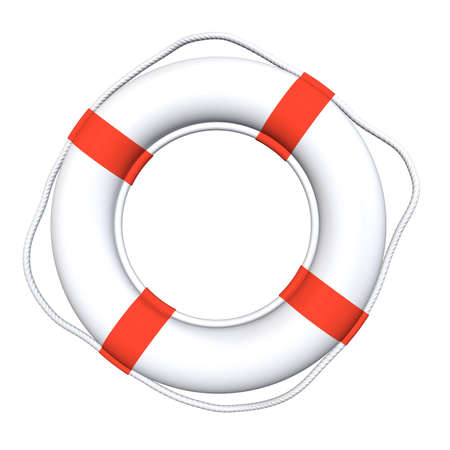 white ring buoy orange ribbon, rope
