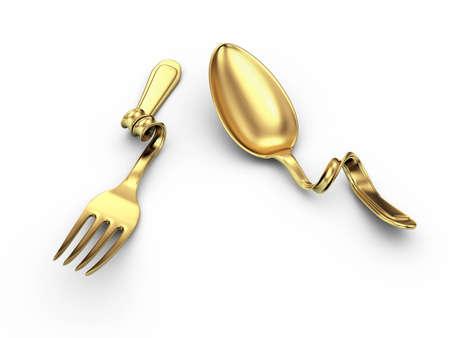 breakage gold kitchenware on white  Stock Photo