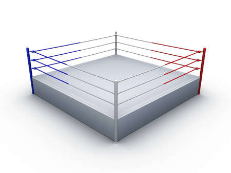 boxing ring on white background Stock Photo