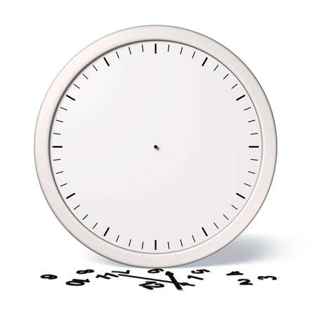 white broken clock with black numerals