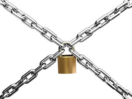 steel chain cross lock isolated on white