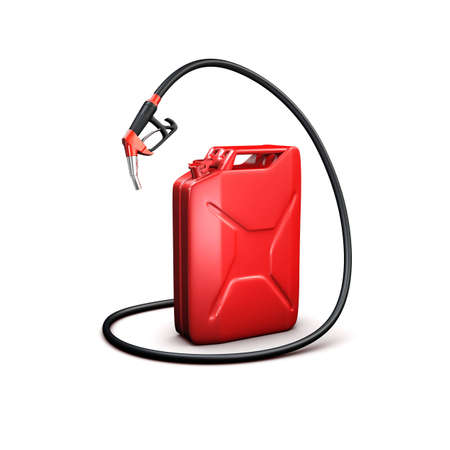 red refueling hose and gas canr