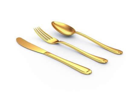 couteau fourchette cuill�re: cuill�re de fourchette couteau or avec ombre
