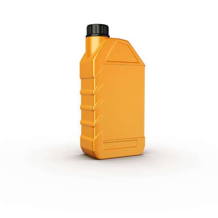 motor oil bottle yellow plastic Stock Photo