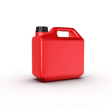 motor oil bottle red plastic Stock Photo