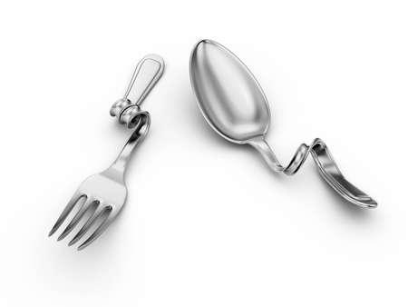 cuchara y tenedor: cuchara de plata en curva, la horquilla en blanco