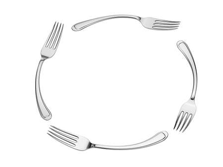 silver bend fork circle isolated
