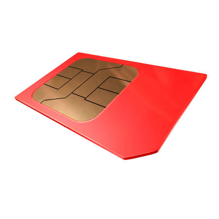 red sim card close up view isolated photo