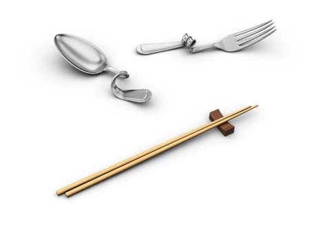 bend kitchenware and chopsticks Stock Photo