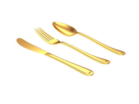 gold knife, fork, spoon isolated