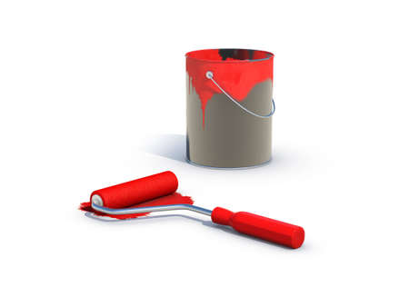 paintroller: red paint pot and roller