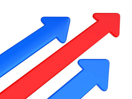 red and blue arrow