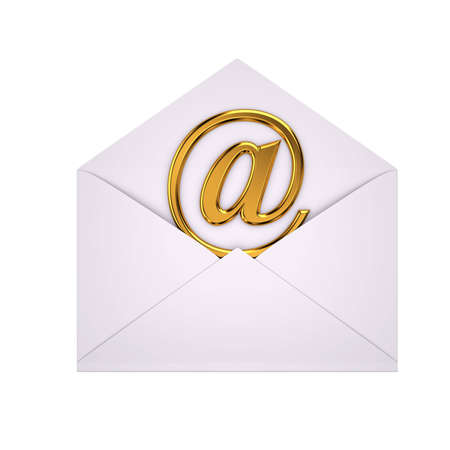 open envelope with gold @ symbol