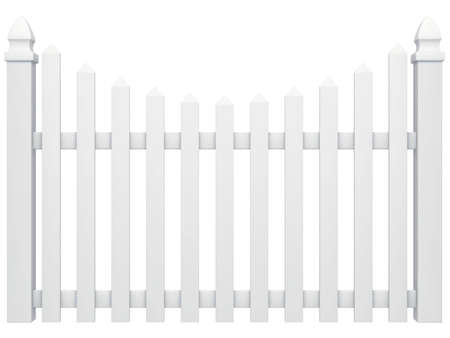 picket fence: white fence isolated