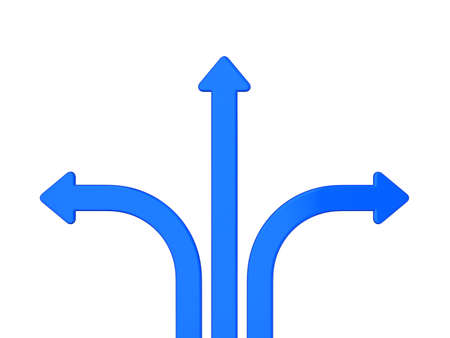three blue arrows in different directions photo