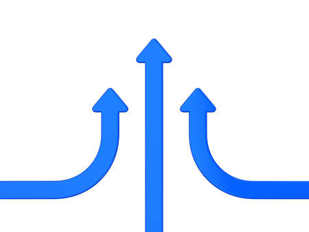 union three blue arrows on white Stock Photo
