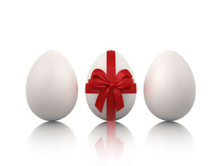 three easter eggs on white Stock Photo