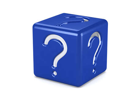 blue box with question symbol isolated on white